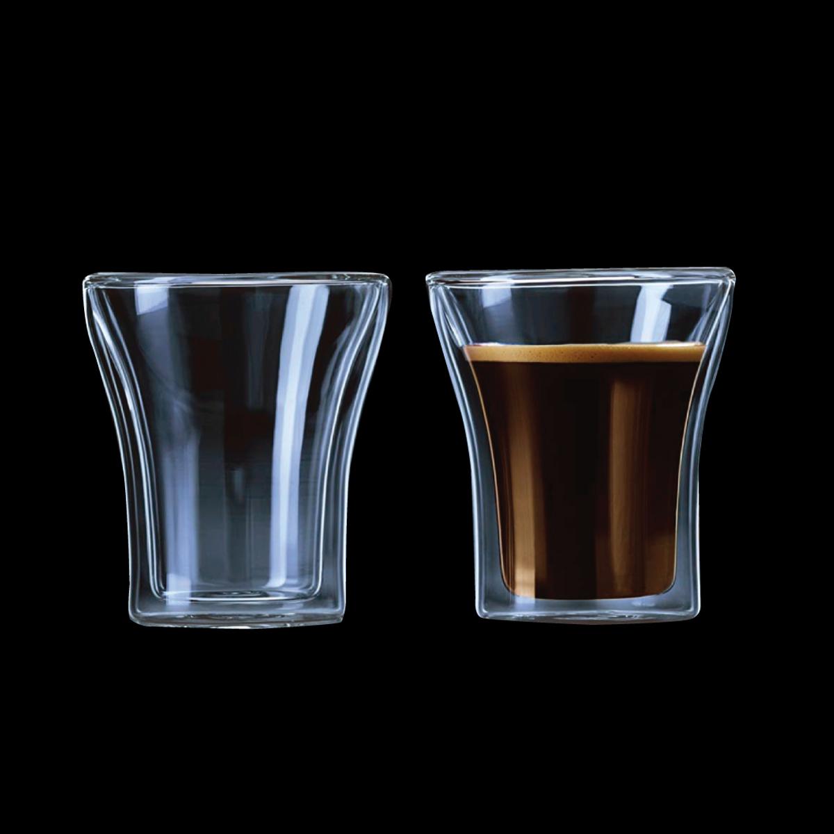 זוג כוסות זכוכית דופן כפולה