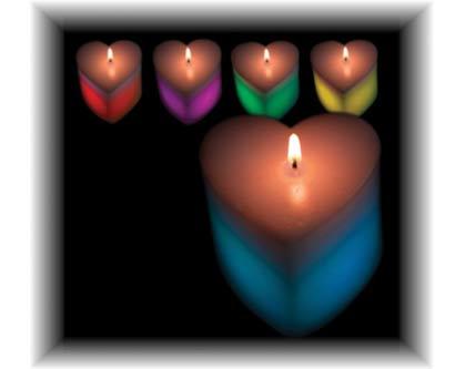 נר בצורת לב מחליף צבעים