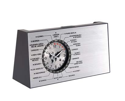 שעון שולחני מתכתי מפת עולם