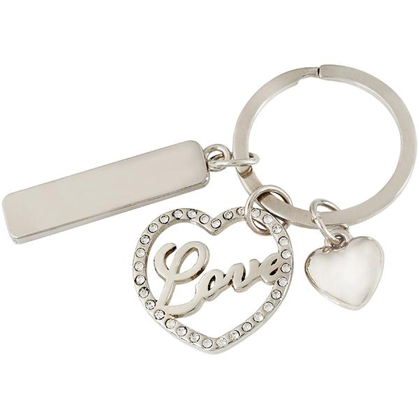 מחזיק מפתחות 2 לבבות משובץ