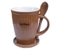 ספל לקפה + כפית ותחתית
